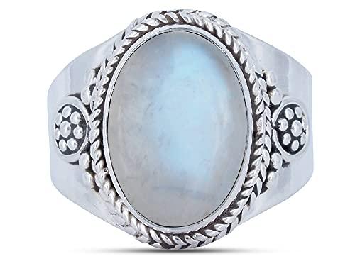Anillo de plata de ley 925 Piedra de luna (No: MRI 129), Ringgröße:58 mm/Ø 18.5 mm