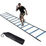 FBSPORT Escalera de Agilidad Velocidad 6 Metros 12 Escalones, Ajustables Fútbol Baloncesto Fitness Equipo Entrenamiento para Niños Adultos, con Bolsa