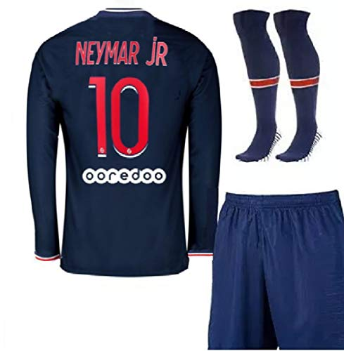 New 20/21 Paris Neymar Home Blue Jersey + Shorts + Socks Soccer Long Sleeve Youth Kids Sizes (4-12 Years Old) (Large)