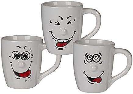 Preisvergleich für Kaffeebecher XXL 750 ml mit Henkel Porzellan Weiß Smiley Funny Face Gesichtern 3 Stück