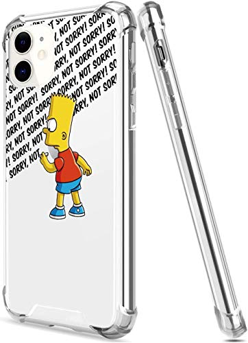 The S-Impsons Cartoon Crystal Clear Case for i_Phone 11(6.1'), Cute Design with 4 Corners Shockproof Protection Soft TPU Bumper and Anti-Scratch PC Back Protective Cover Cases for Men and Women