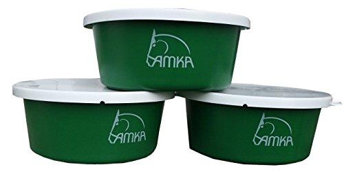 Reitsport Amesbichler AMKA Müslischale Futterschale Leckschüssel 5 Liter mit Deckel 3er Set für Tiere, Pferde, Hunde, Farbe: grün