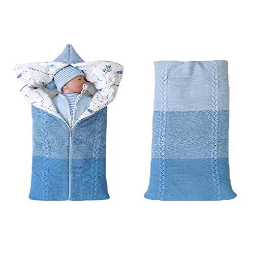 Warme Decke Neugeborenen Schlafsack, Danolt Kids Baby Schlafsack mit Baumwolle, 0–12 Monate Neugeborene, Jungen und Mädchen, Blau