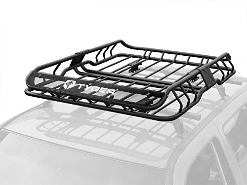 Tyger Heavy Duty Roof Mounted Cargo Basket Rack | L47.25 x W36.6 x H5.9 | Roof Top Luggage Carrier | with Wind Fairing