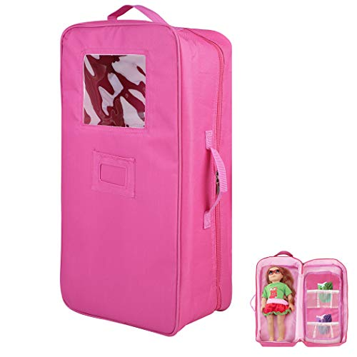 Zoylink Doll Travel Case Doll Storage Bag Portable Doll Suitcase for 18'' Girl Doll