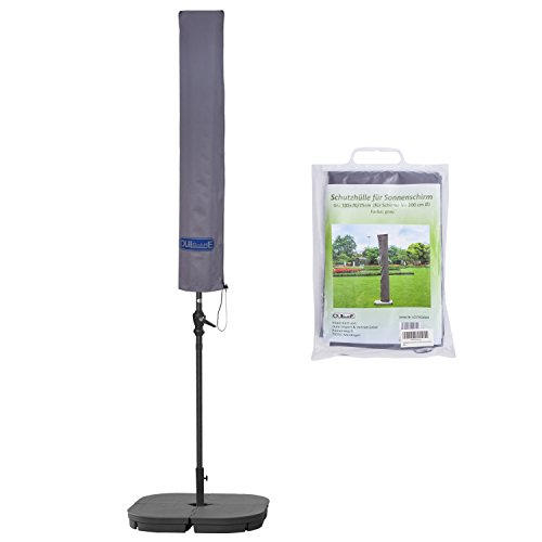 Schutzhülle für Sonnenschirm bis ca. Ø 200cm Premium Qualität aus hochwertigem 300GSM 600D Oxford Material - Grau