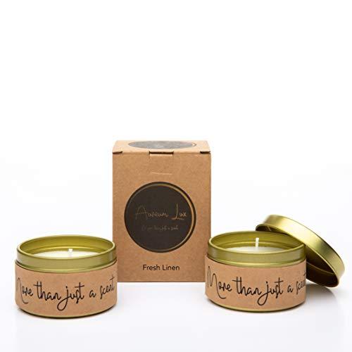 Aureum Lux, dos velas aromáticas de cera de soja natural, lino fresco