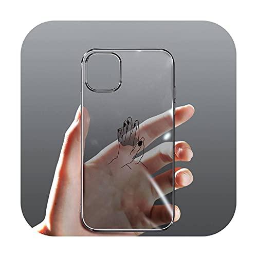 moda manos coloridas victoria teléfono caso transparente para el iPhone para Samsung 11 12 6 7 8 9 30 Pro X Max XR Plus lite-a3-samsung s10 plus