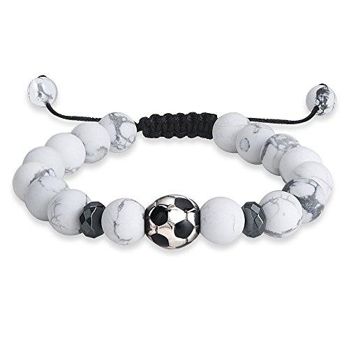 Jeka Football Soccer Beads Charm Bracelet for Men Boys Sports Jewelry White Howlite 10mm Natural Stone Matte Adjustable Cool Gift
