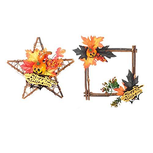 lijunjp Halloween Hanging Wooden Wreath Door Ornament, Garland Autumn Maple Leaf Pumpkin Star Shape Wall Pendant Decorative, Halloween Party Home Decor