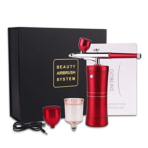 Spray Airbrush Set Facial Makeup Airbrush Oxygen Kit Rechargeable Spray Pen with Adjustable Button for Cake Deraction Coloring Model Face SPA Tattoo (2 Kind of Capacity Cups) Chritmas Gift cenoz