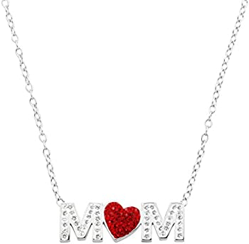 Crystaluxe 17 Inch Mom Red Heart Sterling Silver Necklace