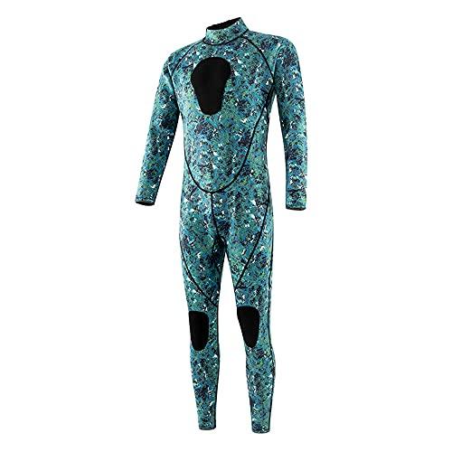 JieDianKeJi Trajes de Neopreno de Camuflaje Hombres y Mujeres Trajes de Buceo de Neopreno de 3 mm Surf Natación Manga Larga Mantener Caliente Cremallera Frontal para Deportes acuáticos