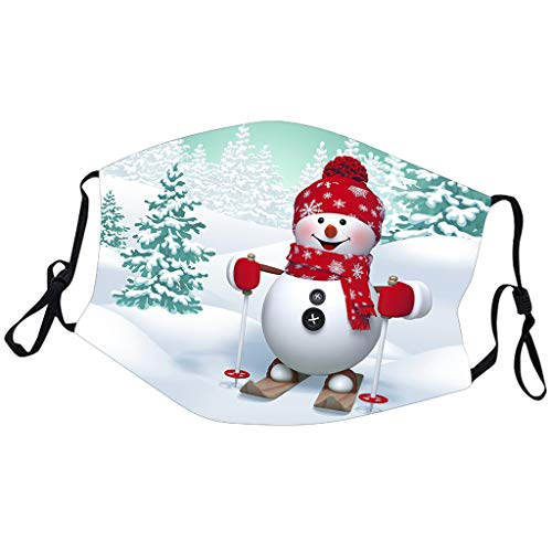 Merry Christmas Face_Masks for Adults,Cute Cartoon Pattern Print Mouth Bandanas for Xmas Decoration