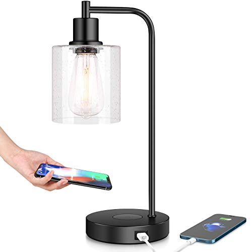 Wireless Charging Industrial Table Lamp 3-Way Touch Control Dimmable Desk Lamp with USB Port Bedside Lamp with Hanging Seeded Glass Shade for Office Bedroom Living Room, Bulb Included