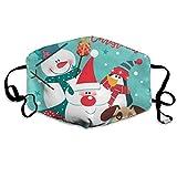 Just Relax Shop Merry Christmas con Papá Noel, muñeco de nieve, pingüino y perro, personalizable, lavable, reutilizable y transpirable, 4.3' × 7.1', pendientes ajustables para correr, alergias, gripe