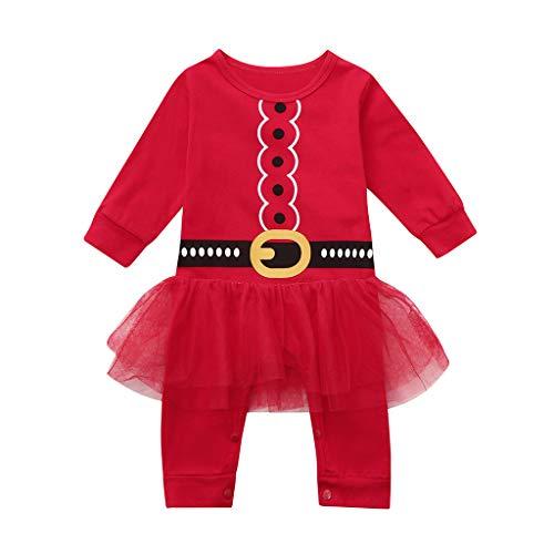 Cuteelf Baby Langarm Weihnachten einteiliges Kleid Kletteranzug Spitzenkleid Baby Baby Mädchen Weihnachten Prinzessin Tutu Overall Kleid Set Bequeme warme Kleidung