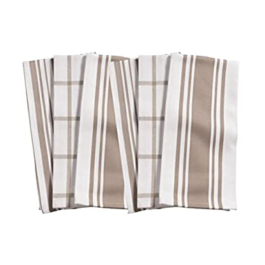 KAF Home Kitchen Towels, Set of 6, Taupe & White, 100% Cotton, Machine Washable, Ultra Absorbent