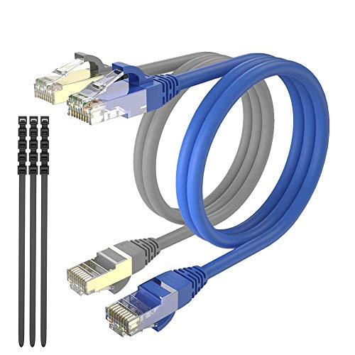MAX Connection Pack 2 Cable Ethernet CAT7 RJ45 24AWG 1m + 15 Bridas (Frecuencia hasta 1000 MHz, PVC, Tamaño 1m) - Multicolor