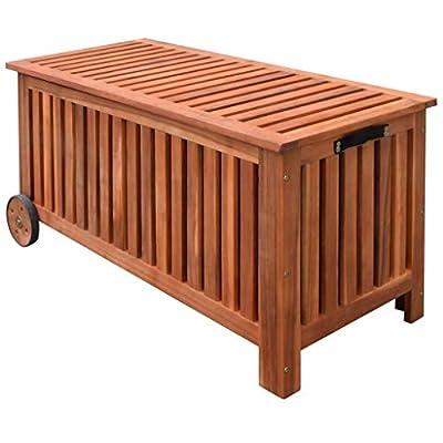 HooLeen Deck Storage Box Acacia Wood, Outdoor Storage Bench Garden Deck Box Waterproof Storage Container Patio Backyard Poolside Balcony Furniture Decor