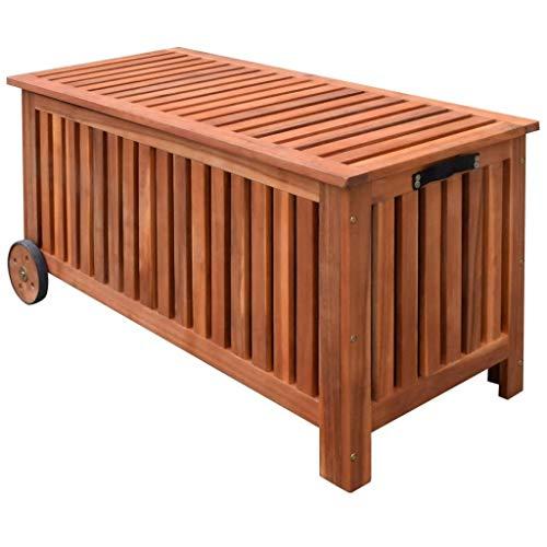 vidaXL 41772 - Cassapanca da giardino, con ruote in legno, 118 x 52 x 58 cm, misura unica