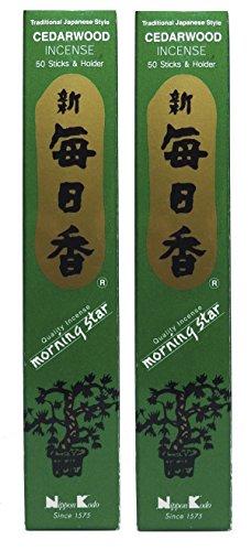 Trimontium 187 Nippon Kodo Morning Star Bâtonnets d'encens Japonais Duo Pack, 2 x 50 pièces, Bois de Cèdre