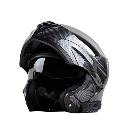 Erwachsene Bluetooth Motorrad Helm Carbon Doppel Objektiv Flip Up Motorrad Helm Outdoor Vollgesichts Motocross Caps Moto Zubehör in Allen Jahreszeiten