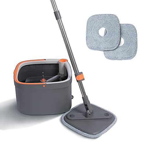 AXYWINBO Set di mop e secchi, Aree Separate per la Pulizia e Lo Sporco,mocio Rotante in Microfibra, Asciutto e Bagnato,mop per la Pulizia dei Pavimenti