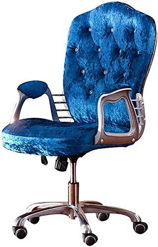 Casa Poltrona per computer con medio posteriore sedia in velluto girevole regolabile Sedia da scrivania imbottita, piedi in lega di alluminio (Color : Blue)