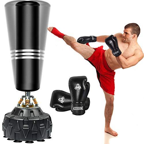 ZILINGO Freistehender Boxsack Standboxsäcke, Schwerer Boxsack-Ständer mit Boxhandschuhen, MMA Boxpartner Boxing Trainer Heavy Duty Punchingsäcke Kickboxsack mit Frühling Saugnapf-Basis, Schwarz 180cm