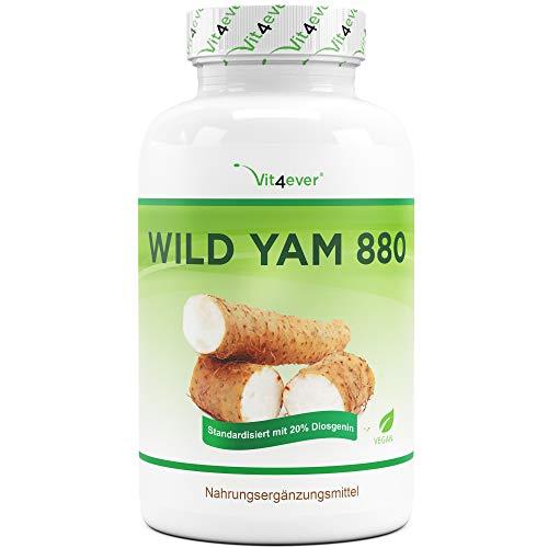 Wild Yam Wurzel Extrakt - 240 Kapseln (4 Monatsvorrat) - Premium: Original Mexican Wild Yamswurzel - Hochdosiert mit 880 mg Extrakt (davon 176mg Diosgenin) je Tagesdosis - Laborgeprüft