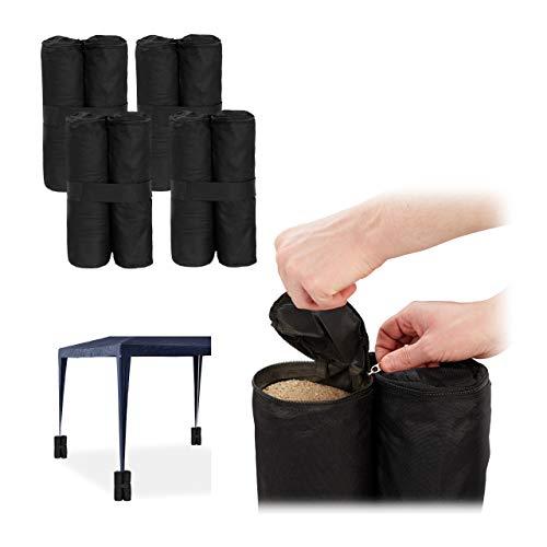 Relaxdays Pavillon Gewichte 4er Set, Beschwerer für Pavillons & Zelte, befüllbar mit Sand, Steinen,10 kg je Fuß, schwarz
