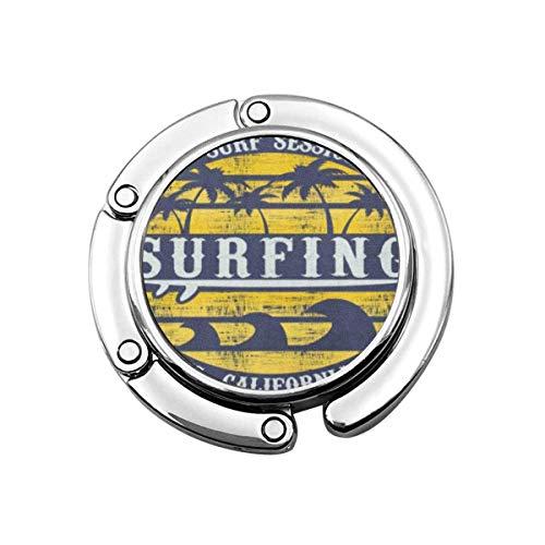 Geldbörse Kleiderbügel Haken Navy Sommer der Brandung Surfen in Calinia Malibu Beach Vintage Graphics Retro Handtasche Hook Table Bag