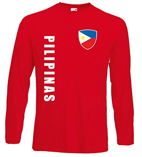 aprom Philippinen Langarm T-Shirt Trikot LS-Spa Rot Longsleeve (S)