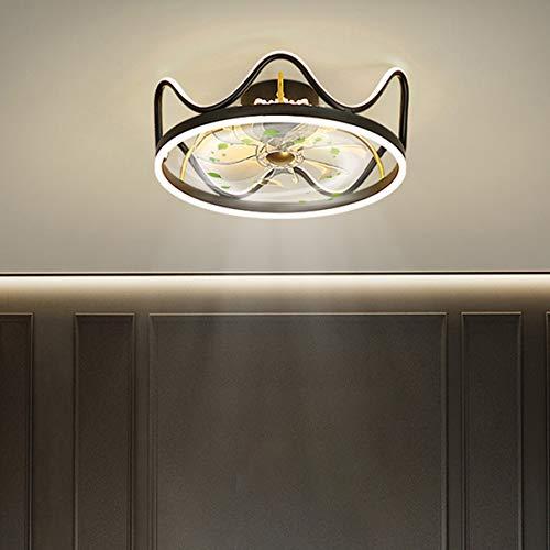 Ventilador de techo con iluminación Los 46CM Moderno LED Cuarto Ventilador Ligero Metal Ventilador de lámpara de techo Aplicación Control remoto 58W Regulable Comedor Sala Sala de estudio,Negro