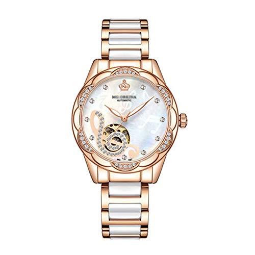 SKYWPOJU Reloj de Pulsera para Mujer, Analógico, Automático, con Pulsera de Cerámica, Elegante Reloj Verde Pequeño Resistente Al Agua para Mujer (Color : White)