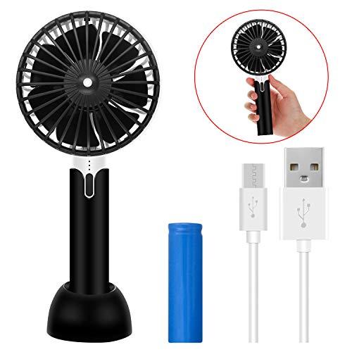 ODLICNO Handventilator, USB Ventilator Mini Lüfter Fan Tischventilator Schreibtisch Ventilator Tragbar Leise 3 Geschwindigkeiten Batteriebetrieben für Büro, Zuhause, Camping und Reisen