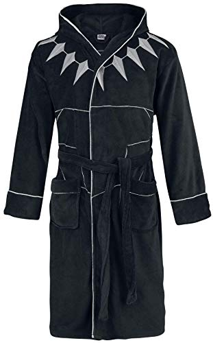 Marvel BlackPanther-Bathrobe Schwarzer Panther-Fleece-Bademantel mit Kapuze, Polyester, Einheitsgröße