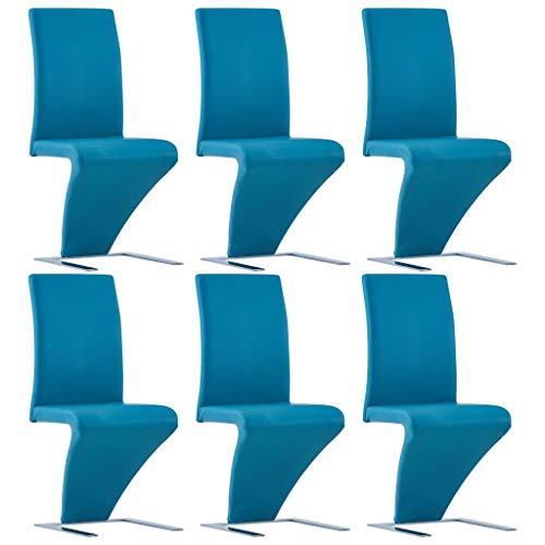 Lasamot Juego de sillas de Comedor Familiar, Juego de 6 sillas de Comedor de Estilo Moderno Azul 44 x 58 x 99 cm (Ancho x Profundidad x Alto) Superficie de Revestimiento de Cuero Artificial