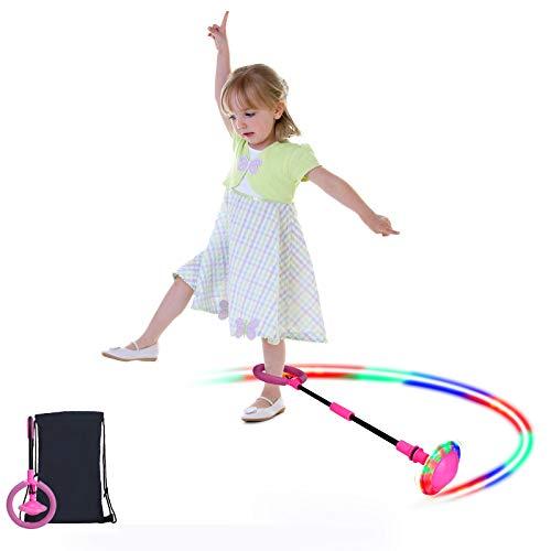 Sinwind Bola de Salto de Tobillo, Anillo de Salto Intermitente, LED Saltar Bola Plegable Anillo de Salto Intermitente Colorida Flash Bola de Salto, Colorida Anillo de Salto de Tobillo para Niño (Rosa)