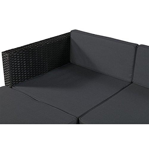 ArtLife Polyrattan Lounge Punta Cana M für 3-4 Personen mit Tisch in schwarz mit Bezügen in Dunkelgrau | Gartenmöbel Sitzgruppe - 4