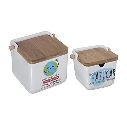 TIENDA EURASIA® Salero y Azucarero de Cocina - Cerámica con Tapa de Bambú - Diseño Original (EL Mundo Entero Y Besos)