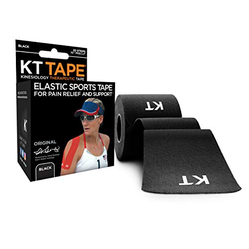 KT Tape Original Cotton Elastic Kinesiology Therapeutic Athletic Tape, 20 Precut 10 inch Strips, Black, Latex Free, Breathable, Pro & Olympic Choice (KTT-AW-Black)