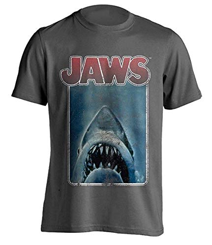 * Bestseller * Jaws Distressed Poster T-shirt for Men, S to XXL