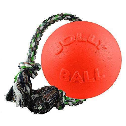 Jolly Pets Romp-n-Roll Rope and Ball Dog Toy, 8 Inches/Large, Orange