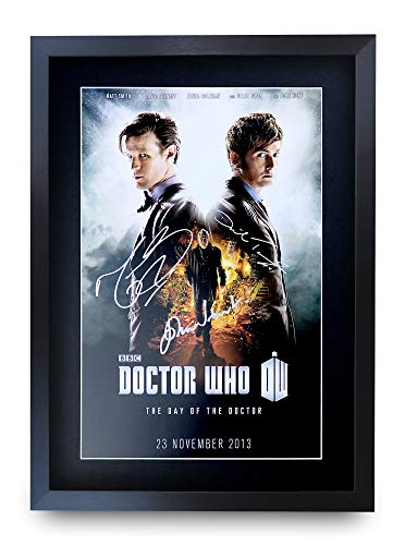 HWC Trading A3 FR Dr Who – Day Of The Doctor TV-Serie Poster David Tennant Matt Smith John Hurt, signiertes Geschenk, gerahmt A3 gedruckter Autogramm Film Geschenke Druck Foto Bild Display
