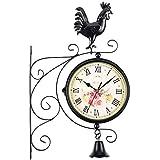 白い壁時計 装飾サイレントウォールクロック外壁時計ダブルサイドウォールクロックオスのひな鳥ベル屋外ガーデンウォール駅ブラケット時計(カラー:ブラック、サイズ:A) レトロな壁時計 (Color : Black, Size : A)