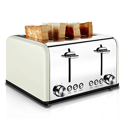 Toaster 4 Slice, CUSIBOX Retro Stainless Steel Extra Wide Slots Toaster with Bagel, Defrost, Cancel Function, 6 Bread Shade Settings, 1650W, Cream