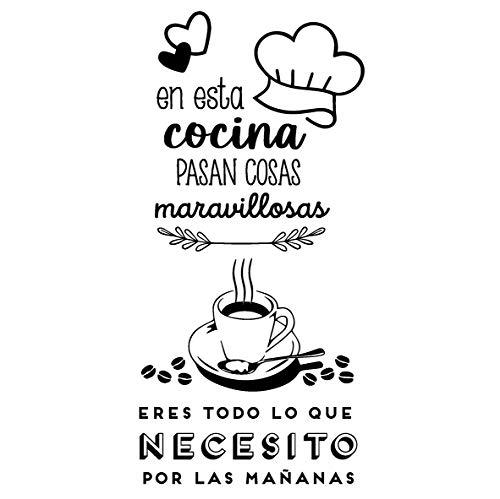 CAPITAN VINILO - Pack 2 Pegatinas Decorativas, Vinilo Cocina. (Cocina Maravillosa + CAFÉ)