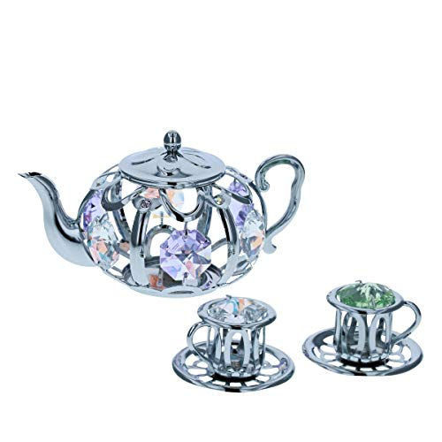 Crystocraft Tea Pot & Tea Cup Ornament Made With Swarovski Crystals